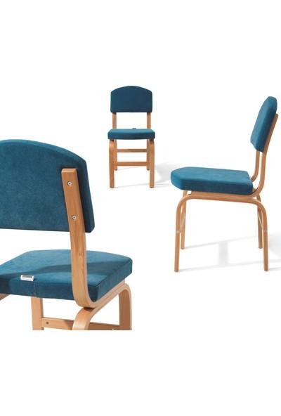 Evmazon FIONA Sandalye 2 Adet Mavi Kumaş Natürel Ahşap Ayak