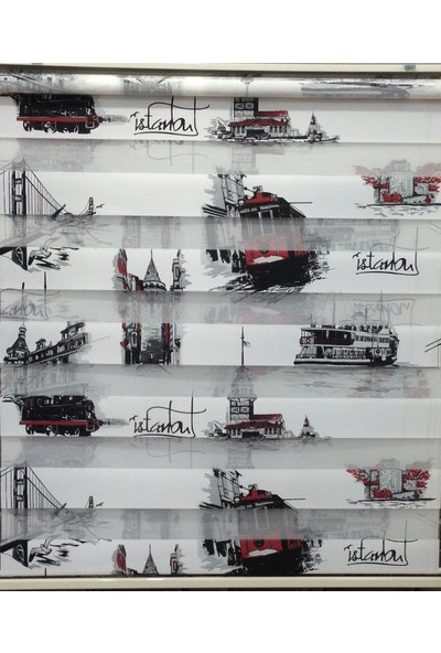 ZebraEvim Siyah-Kırmızı İstanbul Desenli Zebra Perde