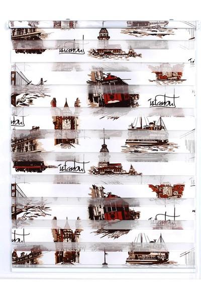 ZebraEvim Kahverengi İstanbul Desenli Zebra Perde