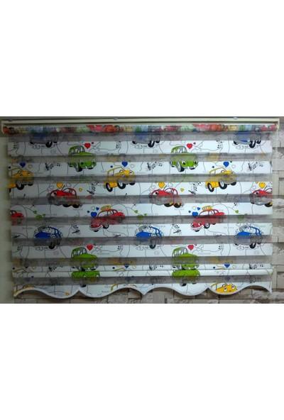 Zebraevim Araba Desenli Çocuk Odası Zebra Perde Etek Dilimli