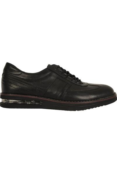 Teğmen 5407 Siyah %100 Deri Günlük Mevsimlik Erkek Ayakkabı
