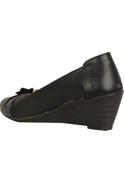 Ayakcenter Stl Siyah Mat 7Cm Dolgu Topuk Günlük Kadın Ayakkabı