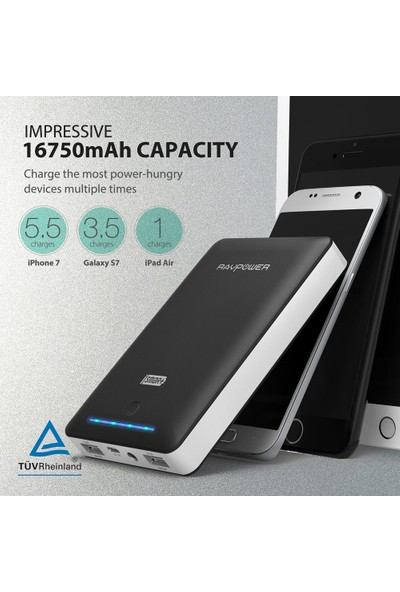 RAVPower 16750mAh Powerbank Çift iSmart 2.0 USB Bağlantısı
