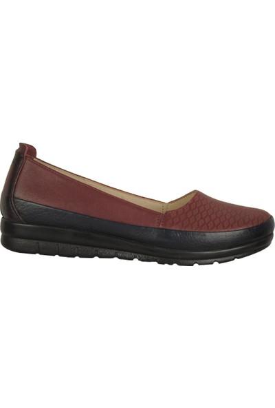 İmge 1122 Bordo %100 Deri Anne Kadın Babet Ayakkabı