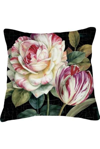 Artemissa Kırlent Kılıfı Vintage Çiçek Desen Dijital Baskılı