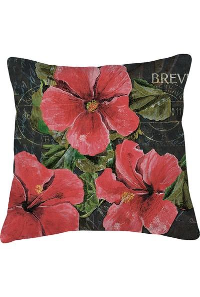 Artemissa Kırlent Kılıfı Vintage Çiçek Desen Kırlent Kılıfı