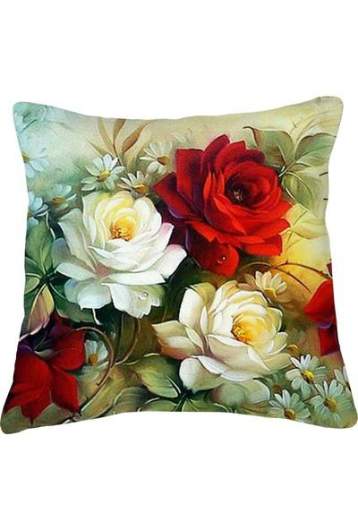 Artemissa Kırlent Kılıfı Çiçek Desen Vintage Desen Dijital Baskılı