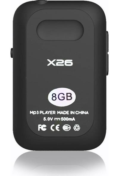 RUIZU X26 Bluetooth MP3 Çalar 8 GB FM Radyo Siyah