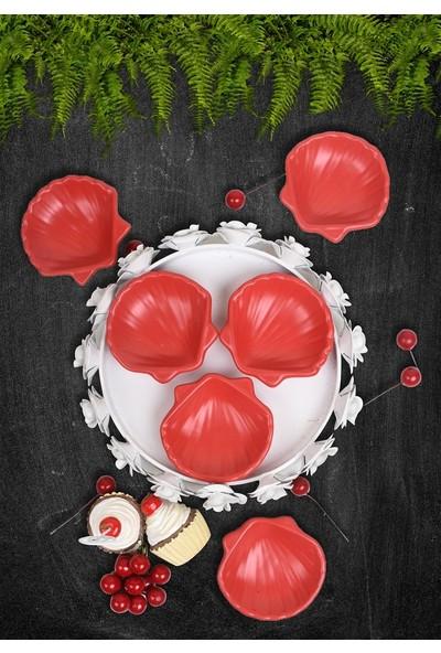 Keramika Mat Kırmızı Mini Midye Çerezlik/Sosluk 8 Cm 6 Adet