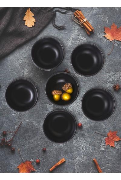 Keramika Mat Siyah Bulut Çerezlik/Sosluk 8 Cm 6 Adet