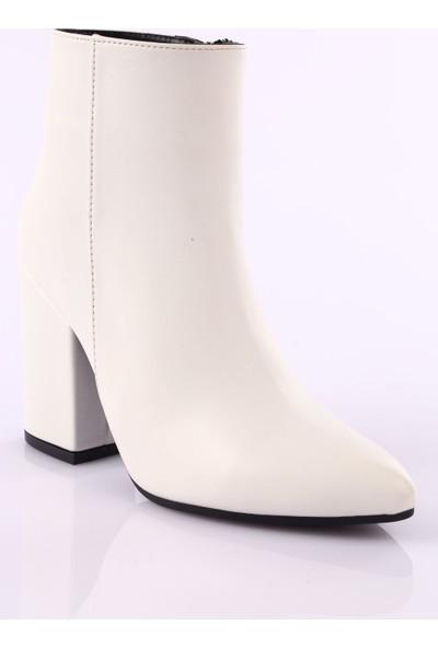 Dgn 016 Kadın Sivri Burun Topuklu Bilek Bot Beyaz