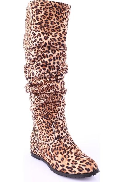 Dgn 1023 Kadın Gizli Dolgu Taban Körüklü Knee High Flats Çizme Leopar