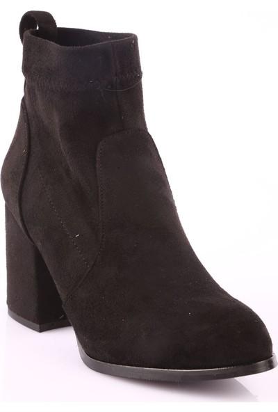 Dgn 019 Kadın Yuvarlak Burun Topuklu Stretch Çorap Bot Siyah Süet