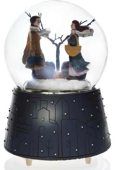 Hediye Biziz Kış Masalı Işıklı Müzikli Kar Motorlu Mega Boy Kar Küresi