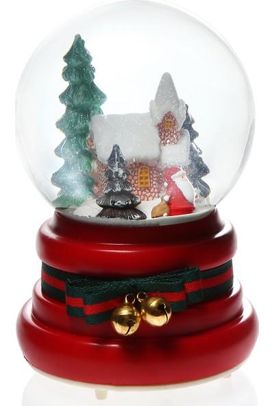 Hediye Biziz Noel Baba Yılbaşı Küresi Işıklı Pilli Müzikli Kar Küresi