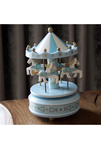 Hediye Biziz Nostaljik El Yapımı Atlı Karınca Müzik Kutusu Büyük Boy Mavi
