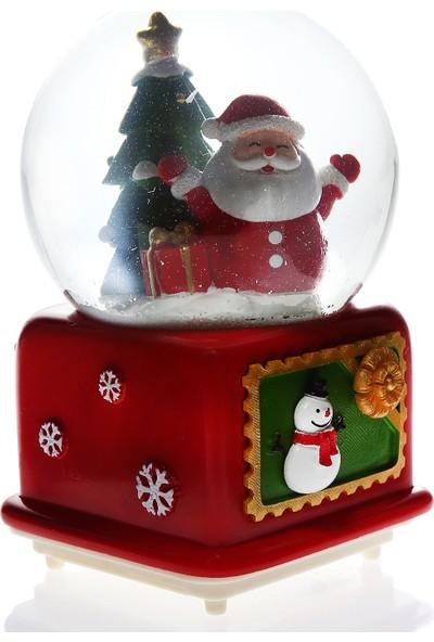 Hediye Biziz Noel Baba Yılbaşı Işıklı Müzikli Kar Motorlu Mega Boy Kar Küresi