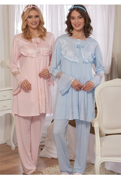 Emose 3924 Lohusa-Hamile KısaKol 3 lü Pijama Takım