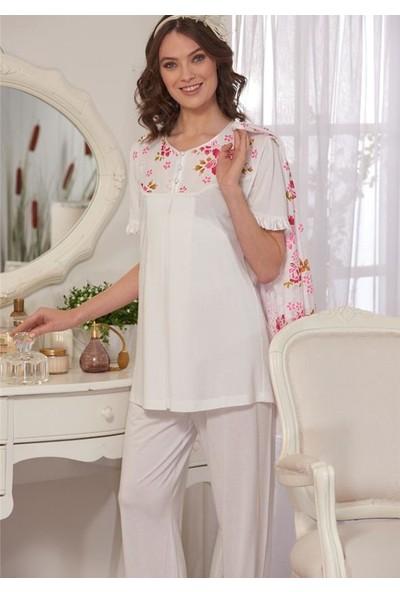Emose 3928 Lohusa-Hamile KısaKol 3 lü Pijama Takım