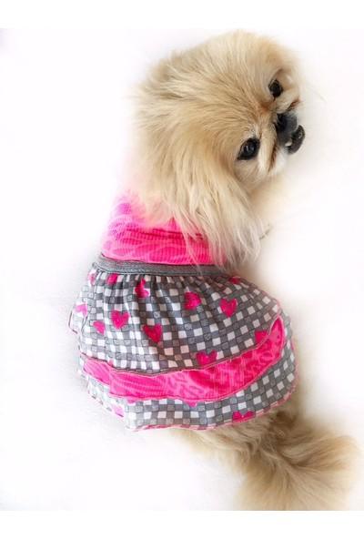 Kemique Checkered Pınk Hearts Köpek Elbisesi