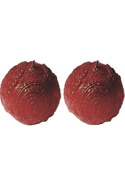 Merland Çilek Kokulu Dekoratif Kırmızı Top Mum 2 li