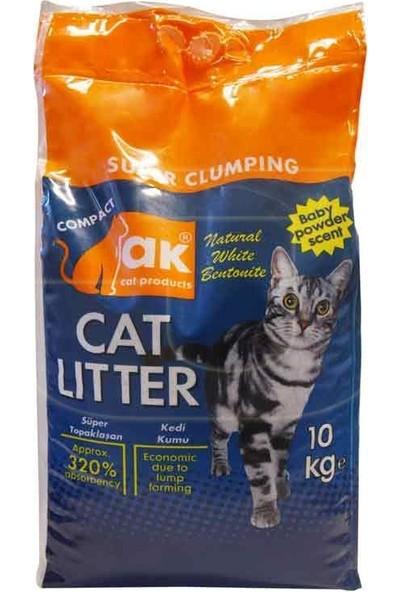 Akkum Topaklaşan Kedi Kumu Bebek Pudralı Kalın Taneli 10 kg