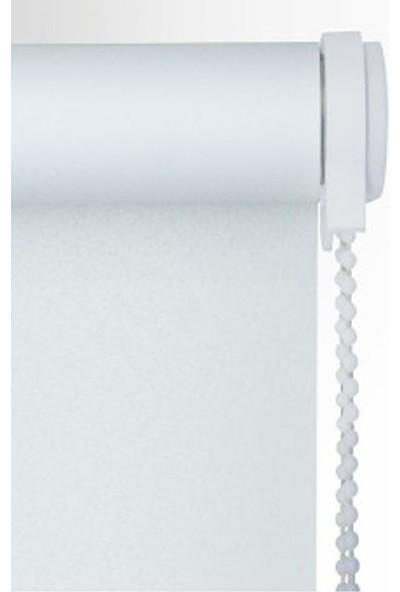 Zebraevim Beyaz Polyester Stor Perde Etek Dilimli