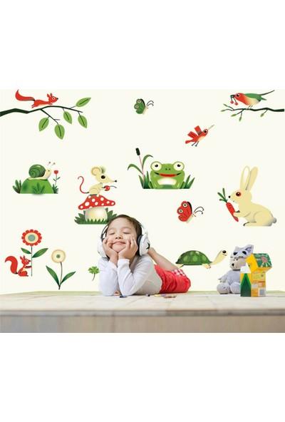 Crystal Kids Tavşan Kurbağa Sevimli Hayvanlar Çocuk Odası Dekoru Duvar Sticker