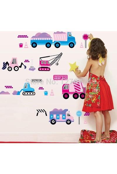 Crystal Kids Pembe Mavi Araçlar Bebek ve Çocuk Odası Duvar Dekorasyonu Duvar Sticker