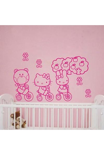 Crystal Kids Pembe Hello Kitty Çocuk Odası Dekorasyonu Duvar Dekoru PVC Sticker