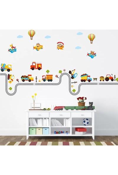 Crystal Kids Taşıtlar ve Yollar Bebek ve Çocuk Odası Duvar Dekorasyonu Duvar Sticker