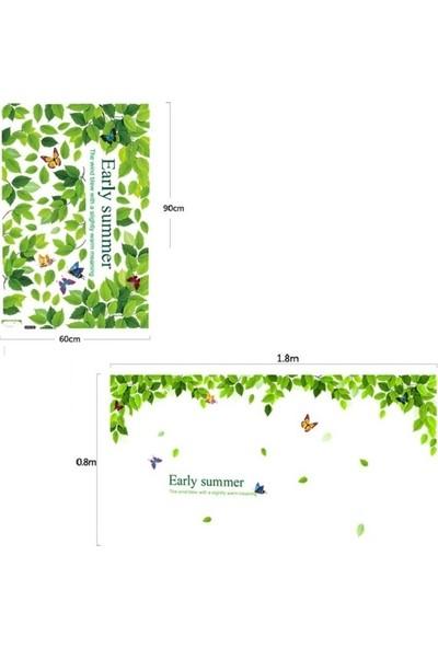 Crystal Kids Yeşil Yapraklar ve Kelebekler Ev Dekorasyonu Duvar Dekoru Sticker