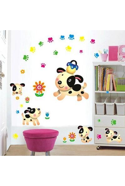 Crystal Kids Çocuk Odası Dekorasyonu Sevimli Yavru Köpekler Duvar Sticker