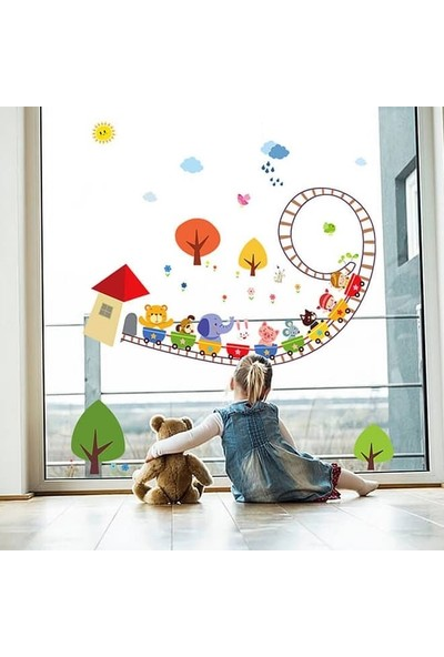 Crystal Kids Renkli Hayvanlar Treni Çocuk Odası Dekorasyonu Duvar Dekoru Sticker