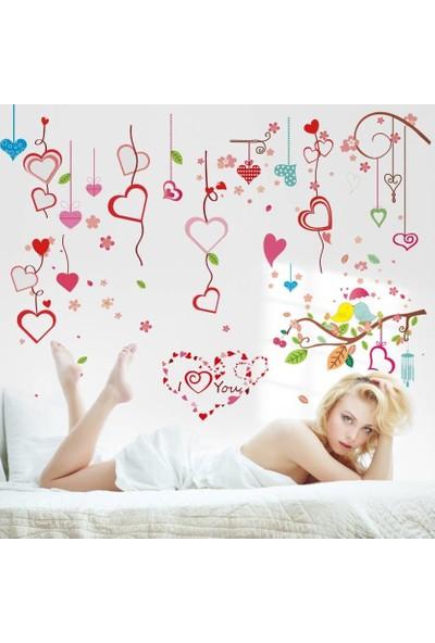 Crystal Kids Kırmızı Kalpler Ev Salon Ofis Dekorasyonu Duvar Dekoru Sticker