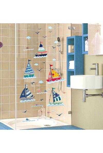 Crystal Kids Deniz Yelkenli Ev ve Çocuk Odası Dekorasyonu Duvar Dekoru Sticker