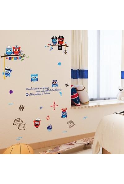 Crystal Kids Denizci Korsan Baykuşlar Çocuk Odası Dekorasyonu Duvar Dekoru Sticker