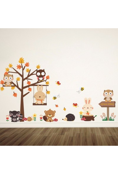 Crystal Kids Sevimli Tavşanlar ve Ağaç Çocuk Odası Dekorasyonu Duvar Dekoru Sticker