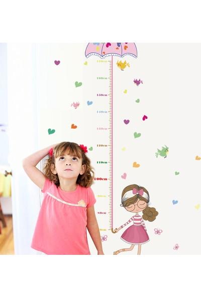 Crystal Kids Kız Çocuk Odası Dekorasyonu Boy Ölçen Duvar Dekoru Sticker