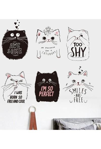Crystal Kids Siyah Beyaz Sevimli Kediler Ev Dekorasyonu Duvar Dekoru Duvar Sticker