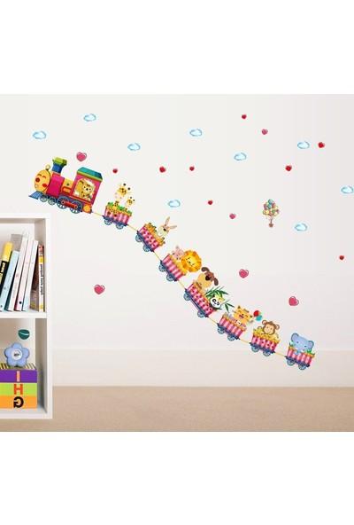 Crystal Kids Hayvanlı Sevgi Treni Bebek ve Çocuk Odası Dekorasyonu Duvar Sticker