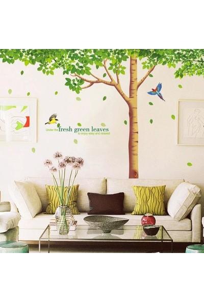 Crystal Kids Yeşil Yapraklı Dev Ağaç Ev Salon Ofis Dekorasyonu Duvar Dekoru Sticker
