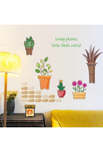 Crystal Kids Saksıda Çiçekler Ev Salon Dekorasyonu Duvar Dekoru Sticker