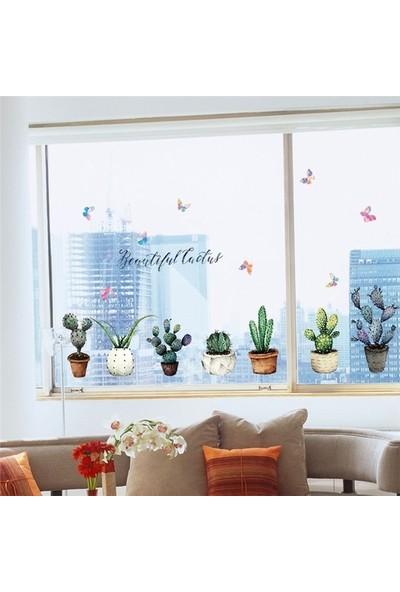 Crystal Kids Modern Tasarım Kaktüsler Salon Ev Dekorasyonu Duvar Sticker