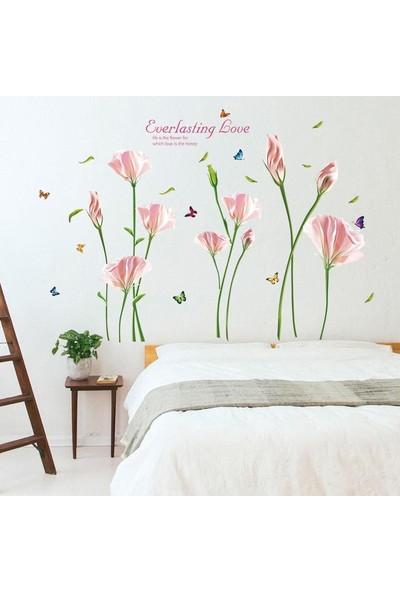 Crystal Kids Lilyum Pembe Çiçekler Ev Dekorasyonu Salon Dekoru Duvar Sticker