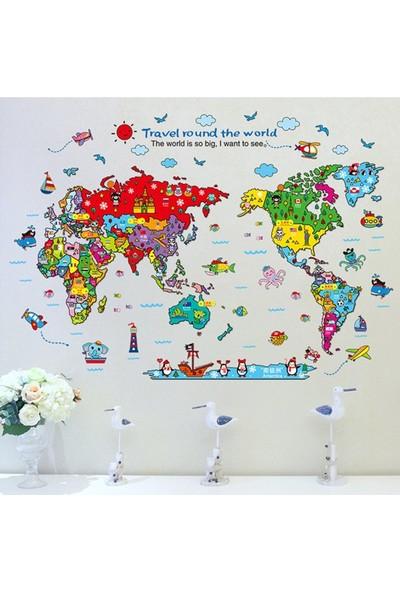 Crystal Kids Renkli Dünya Çocuk Haritası Atlas Duvar Dekoru Sticker