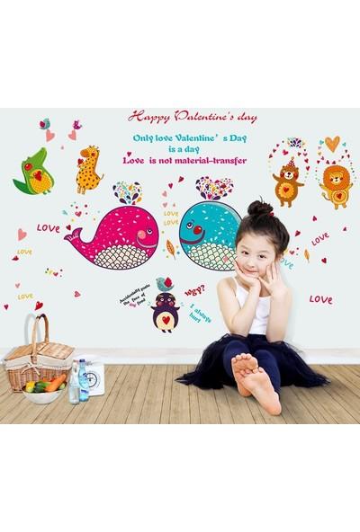 Crystal Kids Sevimli Aşık Hayvanlar Bebek ve Çocuk Odası Duvar Dekoru Sticker