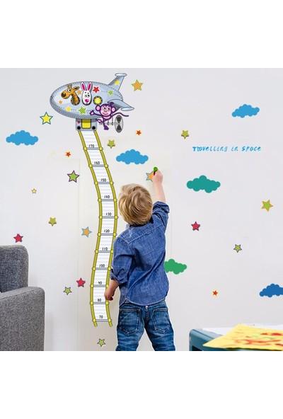 Crystal Kids Uzay Mekiği Boy Ölçen Çocuk Odası Dekorasyonu Duvar Sticker