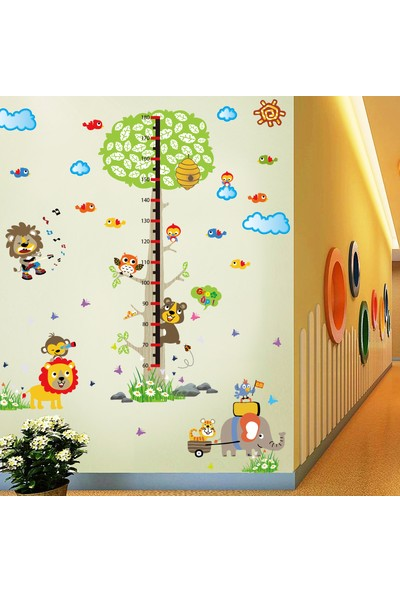 Crystal Kids Renkli Hayvanlar ve Ağaç Boy Ölçer Çocuk Odası Duvar Dekoru Sticker