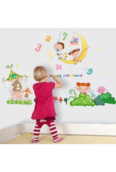 Crystal Kids Mutlu Çocuklar Bebek ve Çocuk Odası Dekorasyonu Duvar Dekoru Sticker